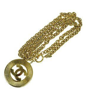 CHANEL CC Logo Long Chain Necklace Gold-tone Franc